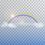 Arco iris con las nubes en fondo transparente Imagenes de archivo