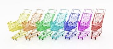 Arco iris de la carretilla de las compras Fotografía de archivo