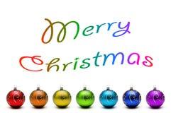 Arco iris de la Navidad de las bolas aisladas en blanco Imagen de archivo