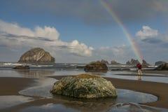 Arco iris de la playa de Bandon Imagenes de archivo