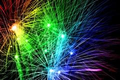 Arco iris de los fuegos artificiales Imagen de archivo libre de regalías