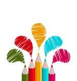 Arco iris de los lápices aislados en el fondo blanco Imagen de archivo libre de regalías