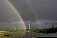 Arco iris de medianoche en Laponia Fotos de archivo libres de regalías