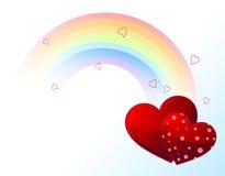 Arco iris del día de tarjetas del día de San Valentín Foto de archivo libre de regalías