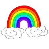 Arco iris del dibujo del vector con las nubes Elemento brillante del diseño Utilice como etiqueta engomada, idea decorativa imagen de archivo libre de regalías