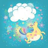 Arco iris del unicornio en las nubes libre illustration
