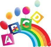 Arco iris del vector con la letra ABCD del color Imágenes de archivo libres de regalías