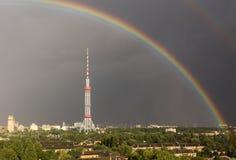 arco iris doble en Kiev imagenes de archivo