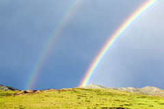 Arco iris doble en Mongolia Fotografía de archivo