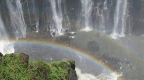 Arco iris doble en Victoria Falls Foto de archivo libre de regalías