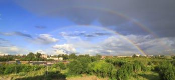 Arco iris doble lleno Imagen de archivo libre de regalías