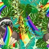 Arco iris el escupir de la pereza en modelo inconsútil del vector de la selva tropical stock de ilustración