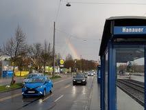 Arco iris en ciudad Fotografía de archivo