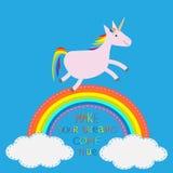 Arco iris en el cielo Unicornio lindo Haga que sus sueños vienen verdad stock de ilustración