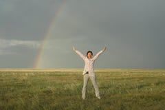 Arco iris en el prado Fotografía de archivo libre de regalías