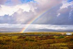 Arco iris en el Thingvellir Foto de archivo