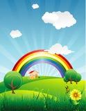 Arco iris en un hermoso ilustración del vector