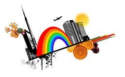 Arco iris en un vector de la ciudad libre illustration
