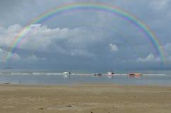 Arco iris hermoso dos en las nubes Foto de archivo