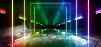 Arco iris moderno futurista oscuro de la trayectoria de Hall Reflective Neon Glowing Sci Fi del Grunge de la niebla del humo del  ilustración del vector