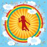 Arco iris-niño-sol Fotos de archivo libres de regalías