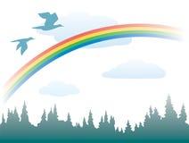 Arco iris, pájaros y bosque Libre Illustration