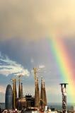 Arco iris sobre Barcelona Imagen de archivo libre de regalías