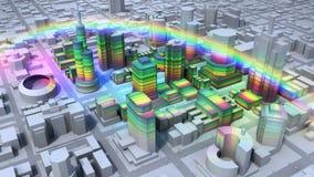 Arco iris sobre ciudad Foto de archivo libre de regalías