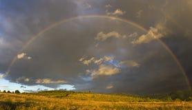 Arco iris sobre el bosque fotografía de archivo
