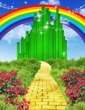 Arco iris sobre el camino amarillo del ladrillo ilustración del vector