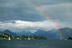 Arco iris sobre el lago de Lucerna Imagen de archivo libre de regalías