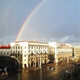 Arco iris sobre la ciudad Imagenes de archivo