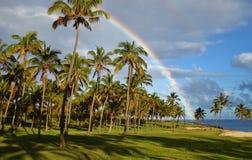 Arco iris sobre la isla de pascua Foto de archivo libre de regalías