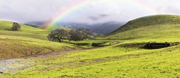 Arco iris sobre las colinas verdes y los prados en la primavera panorámica Foto de archivo