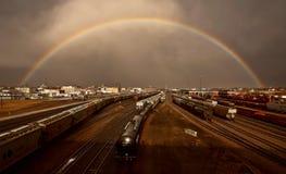 Arco iris sobre quijada de los alces Foto de archivo libre de regalías