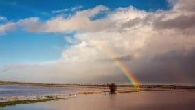 Arco iris sobre tierra inundada después de la tormenta Fotos de archivo