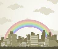 Arco iris sobre una ciudad libre illustration