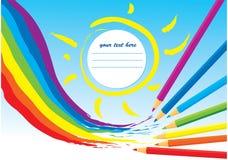 Arco iris, sol y lápices del color ilustración del vector
