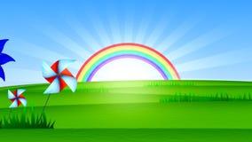 Arco iris soleado y prado verde Vídeo abstracto stock de ilustración
