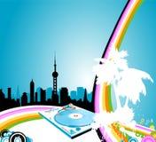 Arco iris urbano stock de ilustración