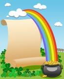 Arco iris viejo del pergamino del día de Patrick s Foto de archivo libre de regalías