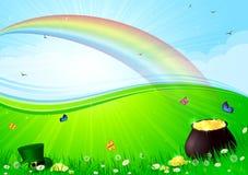 Arco iris y crisol con oro Foto de archivo
