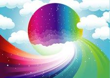 Arco iris y luna colorida ilustración del vector