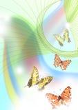 Arco iris y mariposas stock de ilustración