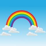 Arco iris y nubes stock de ilustración