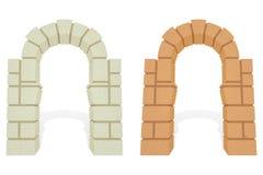 Arco isometrico architettonico di pietra di vettore 3d Fotografie Stock