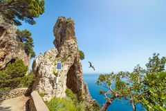 Arco Naturale, natural arch on coast of Capri island, Italy Stock Photography