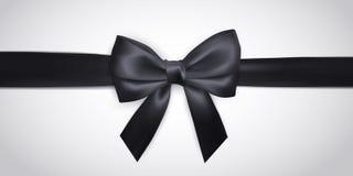 Arco negro realista con la cinta aislada en blanco Elemento para los regalos de la decoración, saludos, días de fiesta Ilustració ilustración del vector
