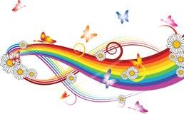 Arco-íris com flores   Imagens de Stock Royalty Free
