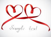 Arco rojo de la cinta de los corazones. Vector Fotos de archivo